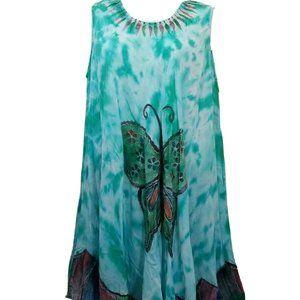 Butterfly Rayon Tie Dye Dress Free Size Embroidery